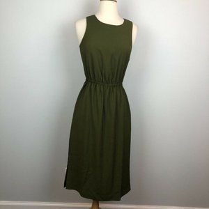 J.Crew $118 Button Back Midi Dress Olive Green